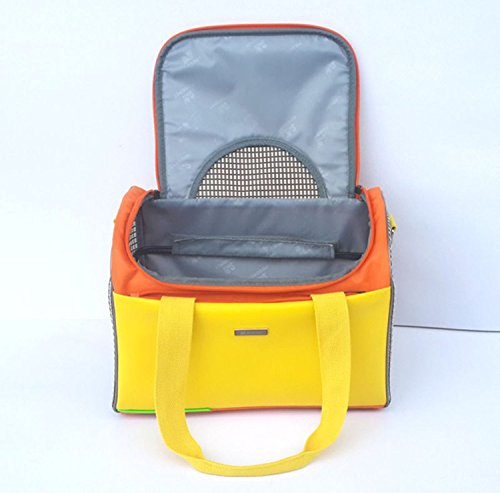 Extrusion Prevention Pet Carrier Stylish 2 Tone Quilted Soft Sided Travel Dog and Cat Pet Carrier Tote Hand Bag (Yellow)