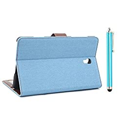 Apexel Denim Material Case with Touch Pen for Samsung Galaxy Tab S 8.4, Blue (T700-5-BLU)
