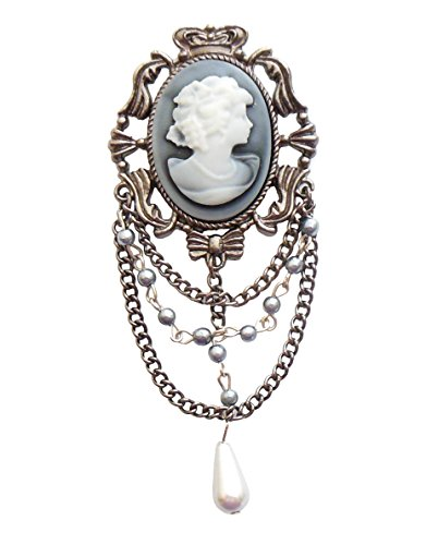 Blue Moon Madame Delphine-Feets Metal Pendant, Cameo with Chain, Oxidized Silver, 1/Pkg