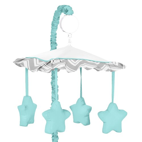 Turquoise and Gray Chevron Zig Zag Musical Baby Crib Mobile by Sweet Jojo Designs - 1