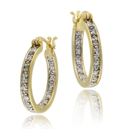 18K Gold over Sterling Silver Diamond Accent 20mm Hoop Earrings
