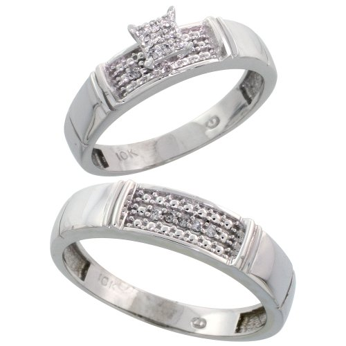 10k White Gold Diamond Engagement Rings Set for Men and Women 2-Piece 0.10 cttw Brilliant Cut, 4.5mm & 5mm wide, Size 5