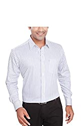 Boonplush-Men's -formal shirt (Blue stripes)-38