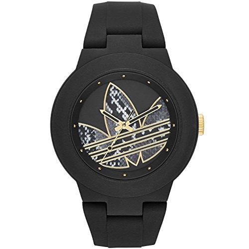 Adidas Femme 41mm Bracelet & Boitier Silicone Noir Quartz Analogique Montre adh3047
