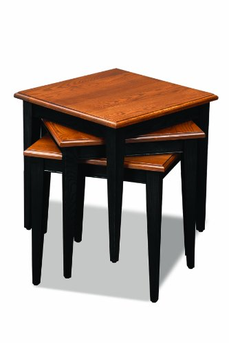 Leick Stacking Table Set Black And Medium Oak Furniture