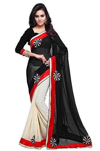 Sourbh Sarees Women's Black and Cream Faux Georgette and Chiffon Saree with Unstitched Blouse Piece