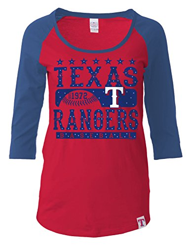 MLB Texas Rangers Women's 3/4 Sleeve Scoop Neck Tee with Contrasting Sleeves, Red, Medium (Texas Rangers Shirts Women compare prices)