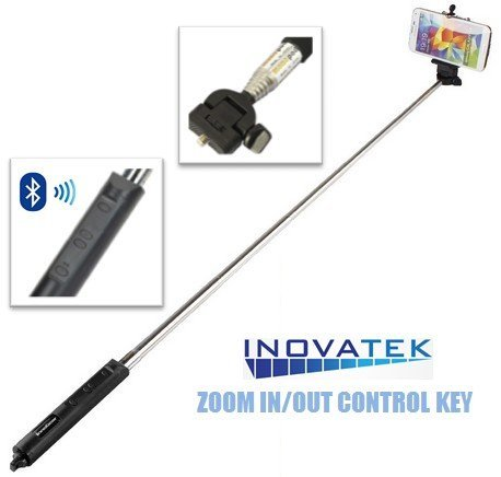 selfie stick bluetooth by inovatek wireless extendable monopod remote self. Black Bedroom Furniture Sets. Home Design Ideas