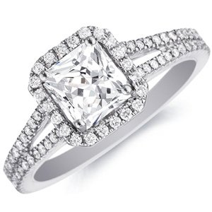 14k white gold mercedes princess cut diamond for Mercedes benz 18k gold ring
