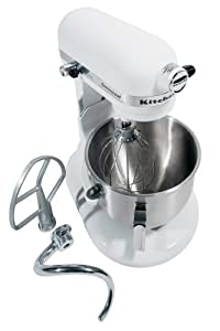 KitchenAid KM25G0XWH Commercial Series 5-Quart Stand Mixer, White