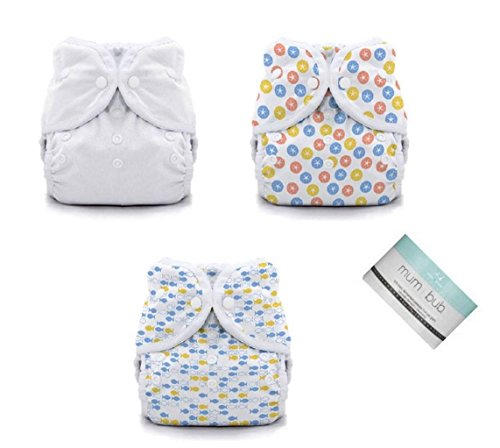 Thirsties Duo Wrap Snaps Diaper Covers 3 pack Combo White, Sand Dollar, School Fish Sz 2 - 1