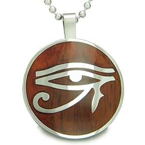 All Seeing Eye of Horus Egyptian Magic Cherry Wood Amulet