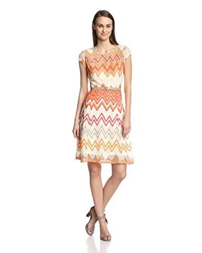 Sharagano Women's Belted Chevron Stripe Dress