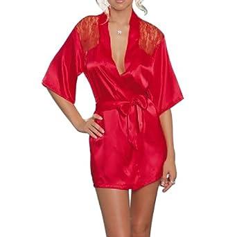 Zicac Sexy Nachtmaentel Shirt Nachtkleid Spitze Satin Nachthemd Unterwaesche Dessous Kimono Negligee sexy Nachtwäsche sexy Satinkelid spitzenkleid Reizwäsche Nachtwäsche von Zicac (M= EU 36-38, rot)
