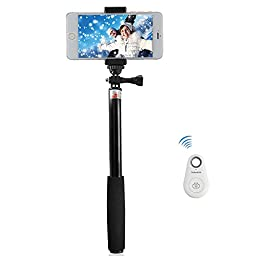 FShang Telescopic Selfie Stick with Bluetooth Remote Shutter for SmartPhones (Black)
