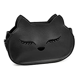 BMC Womens Obsidian Black PU Faux Leather Fox Face Ears Animal Theme Fashion Clutch Shoulder Strap Handbag