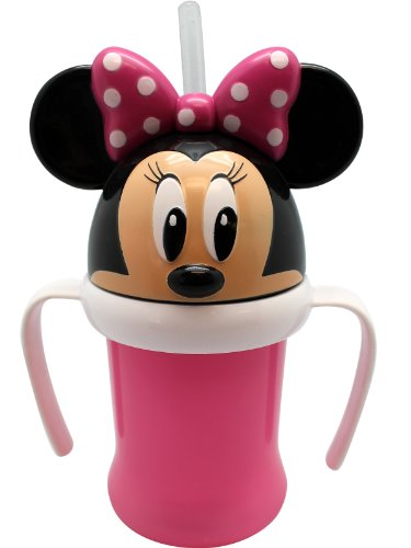 Pink Minnie Mouse Sippy Cup with Straw and Handle - 1