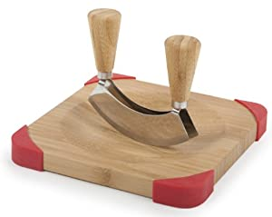 Core Bamboo Corner-Grip Mezzaluna Mincing Set, Natural/Strawberry