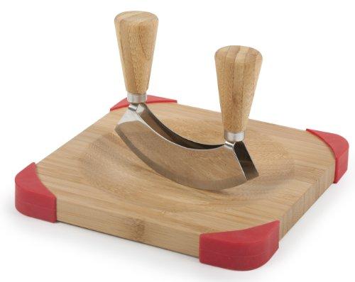 Core Bamboo Corner-Grip Mezzaluna Mincing Set, Natural/Strawberry
