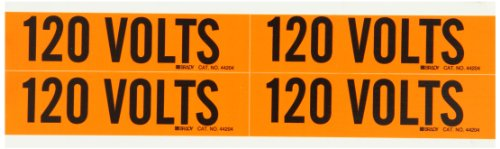 """Brady 44204 1-1/8"""" Height, 4-1/8"""" Width, B-498 Repositionable Vinyl Cloth Black On Orange Color Conduit And Voltage Markers Legend """"120 Volts"""" (4 Per Card)"""