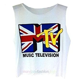 Ladies MTV Union Jack Printed Sleeveless Vest Top