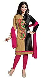 Shree Hans Creation Black& Cream Designer Cotton With Duptta Dress Material