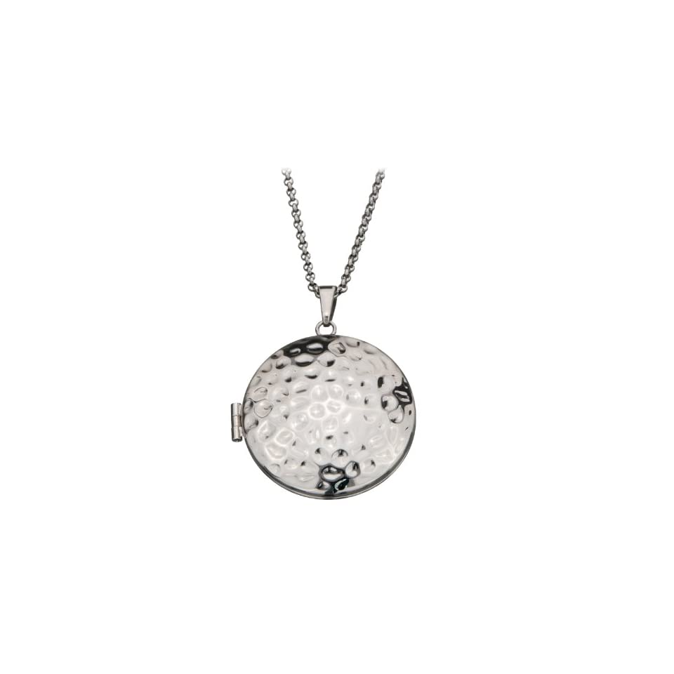 Inox Womens Stainless Steel Hammered Round 1.25 Locket Pendant SSP11638