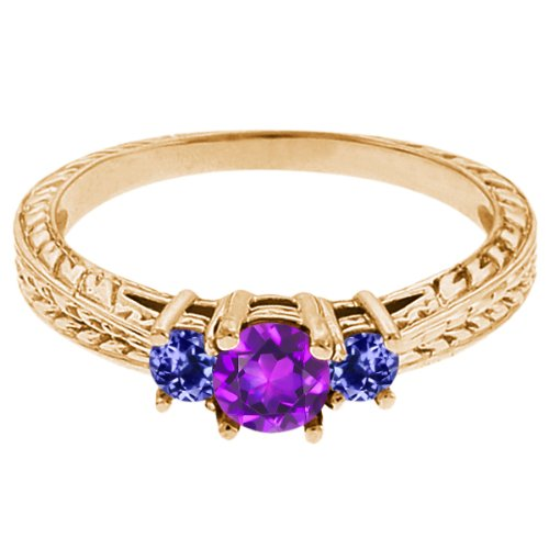 0.60 Ct Round Purple Amethyst Blue Tanzanite 18K Yellow Gold 3-Stone Ring