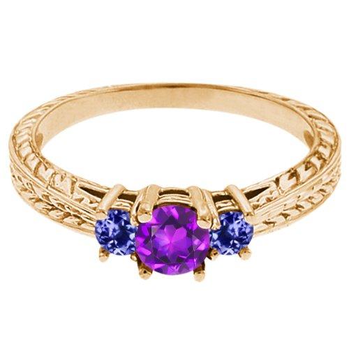 0.60 Ct Round Purple Amethyst Blue Tanzanite 14K Yellow Gold 3-Stone Ring