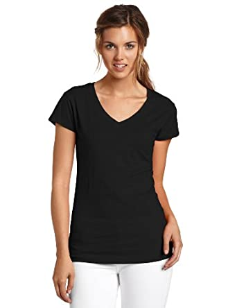 Dickies Juniors Solid Cap Sleeve V-Neck Tee, Black, Small