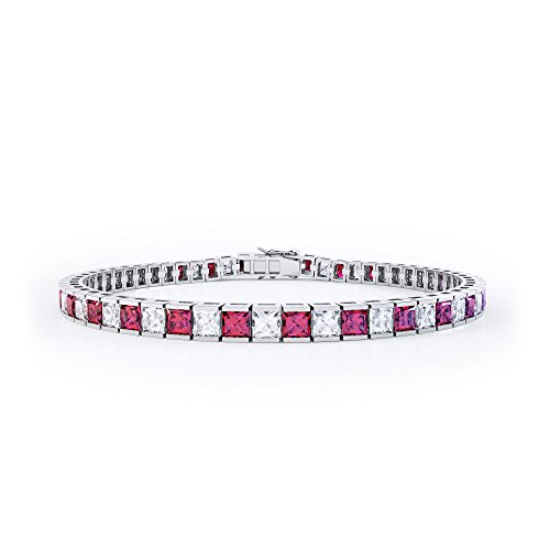 Princess Ruby and Diamond Silver Tennis Bracelet (WHITE GOLD)