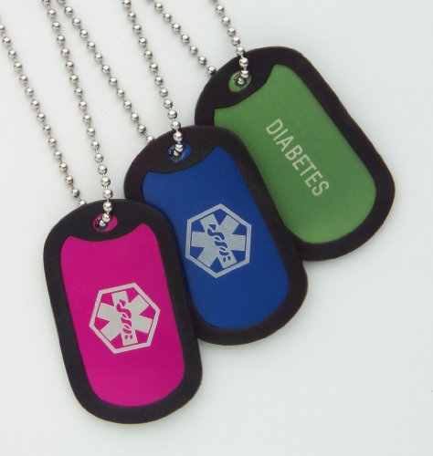 Diabetes Kids Medical Alert ID Dog Tag Necklace ~Green
