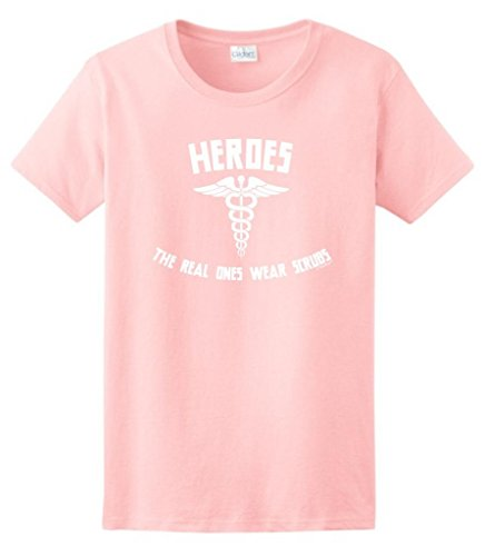 Heroes The Real Ones Wear Scrubs Ladies T-Shirt 2Xl Light Pink front-944011