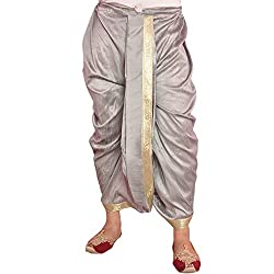 Larwa Silver Dupion Lace Embroidered Dhoti for Men