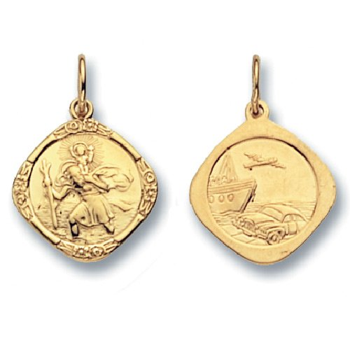 Mens 9ct Gold Double Sided Cushion St Christopher Pendant On A 18 Inch Curb Necklace