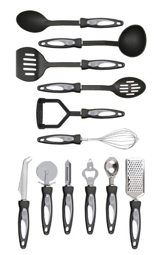 Premier Housewares 12-Piece Stainless Steel Tool Set with Black Handles includes Spoon/ Slotted Spoon/ Ladle/ Slotted Turner/ Masher/ Whisk/ Cheese Knife/ Pizza Cutter/ Peeler/ Bottle Opener/ Ice Cream Scoop/ Grater