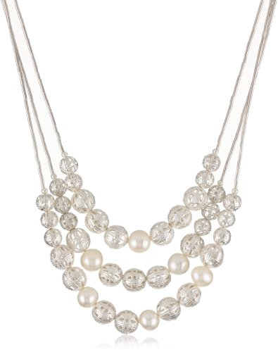 Gold Silk 3 Strand Freshwater Pearl and Filagree Bead Necklace