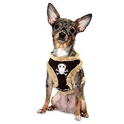 Hip Doggie Brown Fur Skull Harness Vest