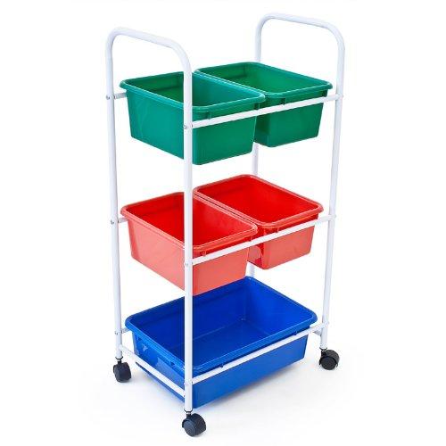Relaxdays Scaffali portatili con cestini colorati su 4 ruote