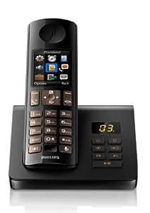 Philips d705 t l phone combin fixe sans fil port e de 50 - Telephone fixe sans fil longue portee ...