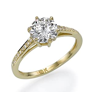 Diamond Engagement Ring with Sidestones 14K Yellow Gold 0.51 ctw Certified Round Cut 1/2 ct Center Stone H Color VS2 Clarity