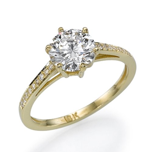 Value Diamond Engagement Ring with Sidestones 14K Yellow Gold 0 51 ctw Certif
