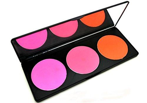 PhantomSky 3 Colori Polvere Blush Fard Viso Palette Trucco - Perfetto per l'uso quotidiano e professionale