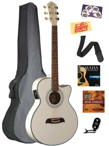 Oscar Schmidt Og10Ce Concert-Size Cutaway Acoustic-Electric Guitar Bundle With Gig Bag, Tuner, Strap, Strings, Picks, And Polishing Cloth - White