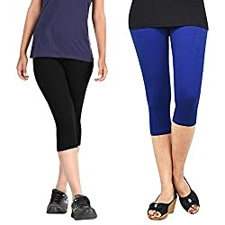Rooliums Super Fine Cotton Capri Leggings Combo (Pack of 2) Black and Blue - FREE SIZE