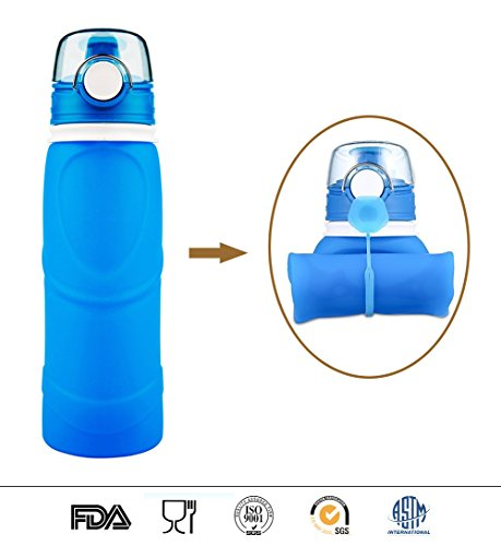 Collapsible Water Bottle, BPA Free Reusable Silicone Foldable Leak Proof Ultra-lightweight Sports Water Bottle, Travel Drink Carrier for Running, Camping, Hiking, Yoga, Gym and Outdoor Activities