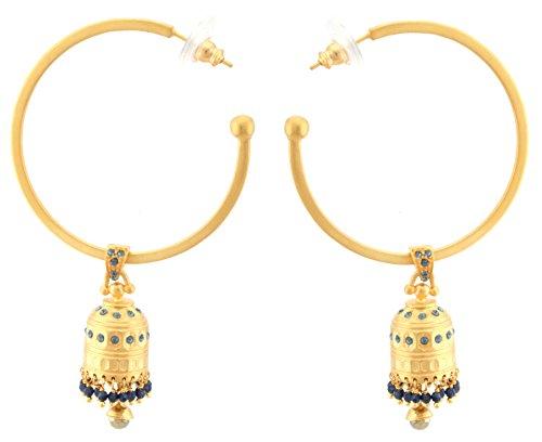 Zest Ohrringe indische Goldene jhumkas Glocken Swarovski-Kristall Creolen Ohrringe für gepiercte Ohren