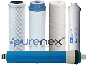 Purenex 1C-1GAC-1S-1I-1M75 Reverse Osmosis RO Filters Membrane Replacement Set