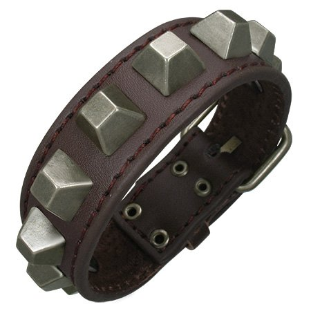 Studded Brown Leather Bracelet, Pyramid Studs, for Men and Women, Adjustable Sizing From 7.75 to 9.5 Inches