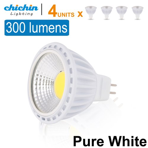 Chichinlighting® 4-Pack Cob 12V Led Mr16 Bulbs 3 Watts 300 Lumens Super High Efficient Highest Lumens/Watt Pure White Cool White 45 Degree Lighting Angle